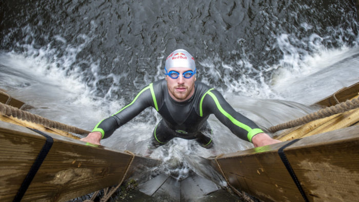 Gordon Benson gets a first look at the course ahead of competing in Red Bull Neptune Steps in Glasgow on March 17, 2017