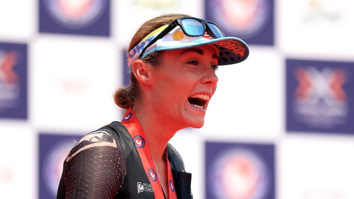 BRATISLAVA, SLOVAKIA - JUNE 3: Lucy Charles of Great Britain celebrates winning The Championship Challenge Triathlon on June 3, 2017 in Bratislava, Slovakia. (Photo by Stephen Pond/Getty Images for Challenge Triathlon) *** Local Caption *** Lucy Charles 2017 season review