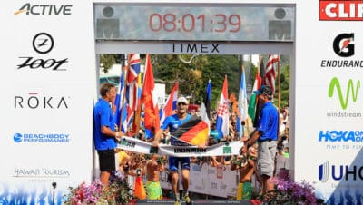 KAILUA KONA, HI - OCTOBER 14: Patrick Lange of Germany celebrates afer winning the IRONMAN World Championship and setting a course record of 8:01.39 beating Craig Alexander's 2011 record of 8:03.56 on October 14, 2017 in Kailua Kona, Hawaii. (Photo by Sean M. Haffey/Getty Images for IRONMAN)