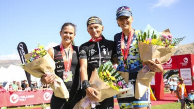 WANAKA, NEW ZEALAND - FEBRUARY 18: Women's Pro podium - Yvonne van Vlerken the Netherlands 1st, Laura Siddall (UK) 2nd & Emma Bilham (SUI) 3rd in the 2017 Challenge Wanaka on February 18, 2017 in Wanaka, New Zealand. (Photo by Neil Kerr/Getty Images)