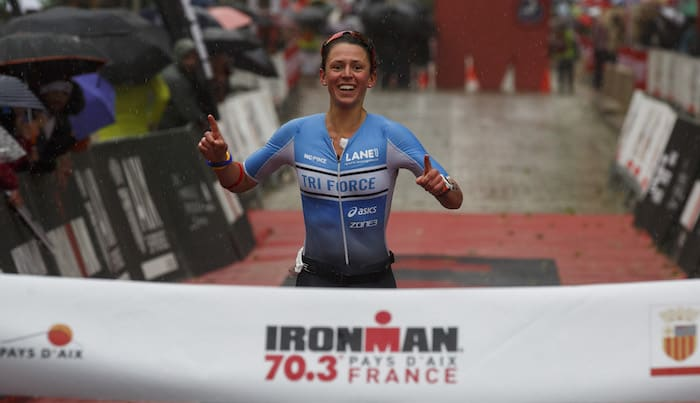 AIX-EN-PROVENCE, FRANCE - MAY 13: Athlete Fenella Langridge of Great Britain crosses the finish line on third position of the Women's race during Ironman 70.3 - Pays d'Aix on May 13, 2018 in Aix-en-Provence, France. (Photo by Pablo Blazquez Dominguez/Getty Images for IRONMAN)