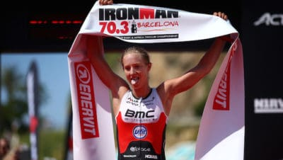 BARCELONA, SPAIN - MAY 20: Emma Pallant of Great Britain celebrates after winning the womens race during IRONMAN 70.3 Barcelona on May 20, 2018 in Barcelona, Spain. (Photo by Charlie Crowhurst/Getty Images for IRONMAN)