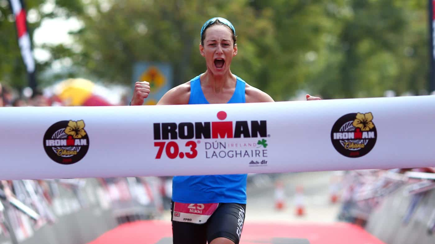 DUN LAOGHAIRE, IRELAND - AUGUST 25: Nikki Bartlett of Great Britain celebrates as she wins the womens race during IRONMAN 70.3 Dun Laoghaire on August 25, 2019 in Dun Laoghaire, Ireland. (Photo by Charlie Crowhurst/Getty Images for IRONMAN) *** Local Caption *** Nikki Bartlett