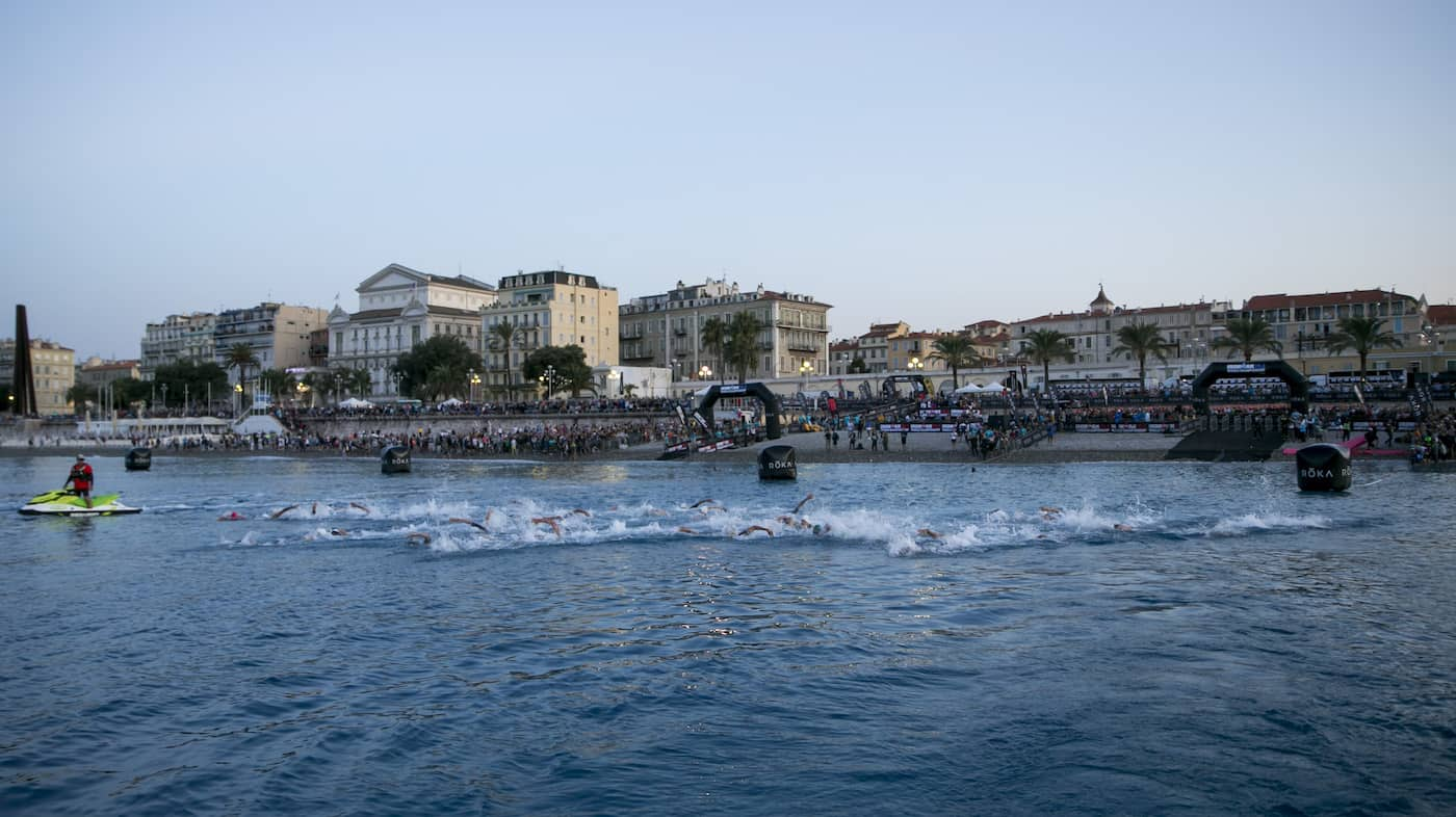 NICE, FRANCE - SEPTEMBER 08: Athletes compete in the swim leg of the the IRONMAN 70.3 World Championship Men in Nice on September 08, 2019 in Nice, France. (Photo by Jan Hetfleisch/Getty Images for IRONMAN)